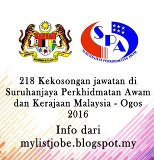 218 Kekosongan jawatan di Suruhanjaya Perkhidmatan Awam dan Kerajaan Malaysia - Ogos 2016