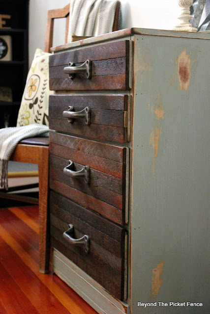 metal handles, reclaimed wood, lath, dresser, DIY, chippy paint, http://bec4-beyondthepicketfence.blogspot.com/2015/08/rustic-industrial-chest-of-drawers.html