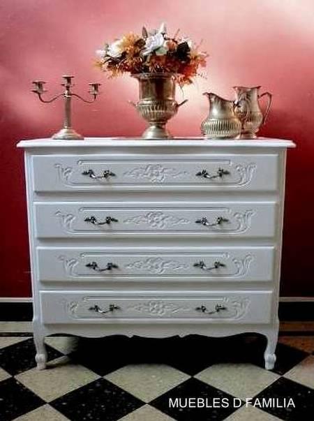 Cómoda de madera estilo Provenzal color blanco