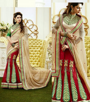 Latest-indian-bridal-lehenga-sarees-2017-with-new-blouse-designs-4