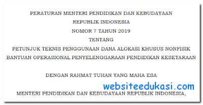 Permendikbud Nomor 7 Tahun 2019 tentang Juknis BOP Kesetaraan 2019