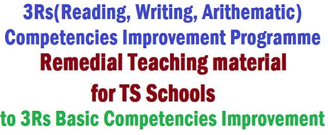 TS Schools,Remedial Teaching material,3Rs Competencies Improvement