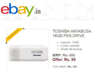 Toshiba 16 GB Pendriive At Rs 99 Ebay