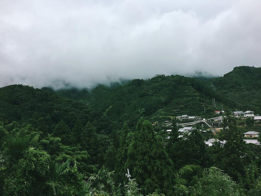 A misty landscape above the forests of Koyasan Japan