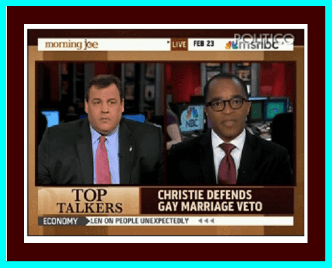 "A screenshot of Governor Chris Christie (R-NJ) (left) and Jonathan Capeheart (right) from MSNBC's ""Morning Joe"""