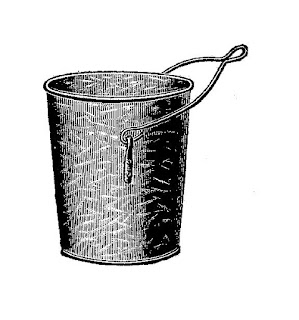 bucket mining vintage illustration