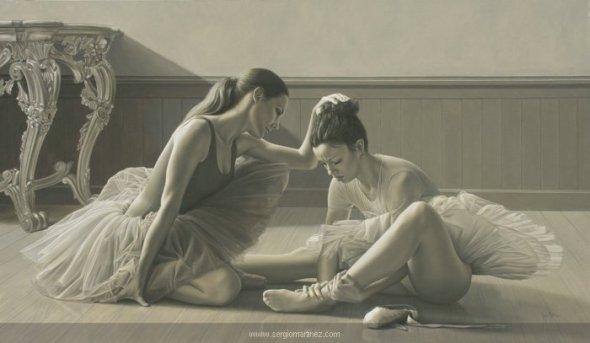 Sergio Martínez arte pinturas retratos hiper-realistas mulheres dançarinas