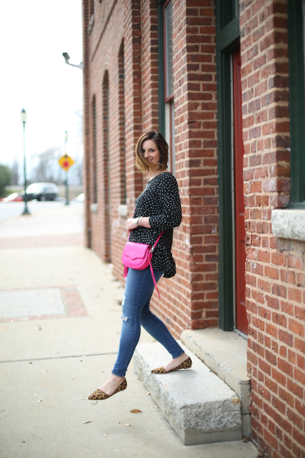 how to pattern mix, leopard flats, mom style, style on a budget