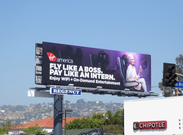 Virgin America Fly boss pay intern billboard