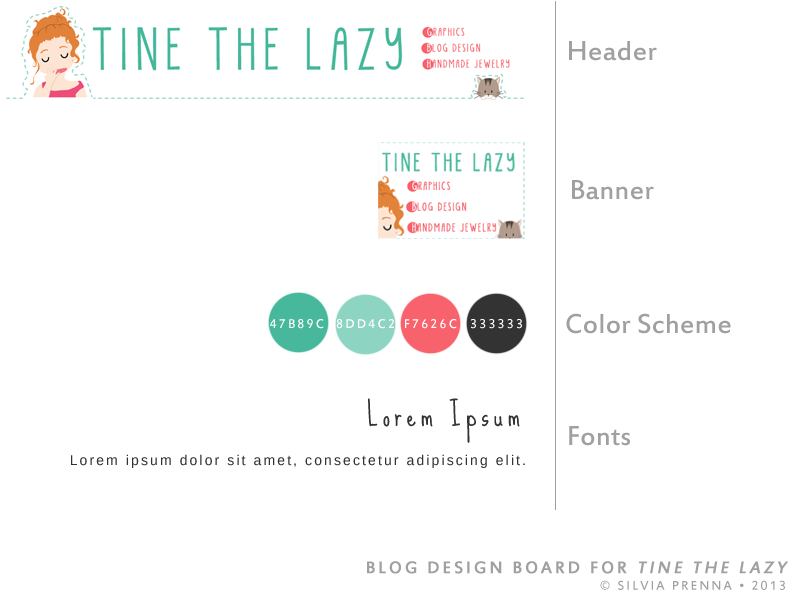 Blog Design board for 'Tine the Lazy'