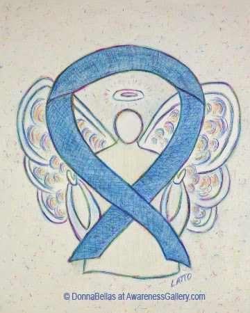 Denim Guardian Angel Awareness Ribbon Picture Image