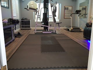 home gym with Greatmats interlocking tiles