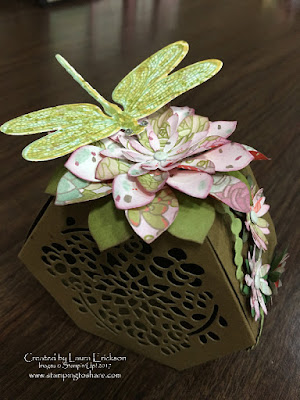 Faux Succulent with Stampin' Up! Oh So Succulent Bundle, Dragonfly Dreams Bundle and Window Box Framelits.