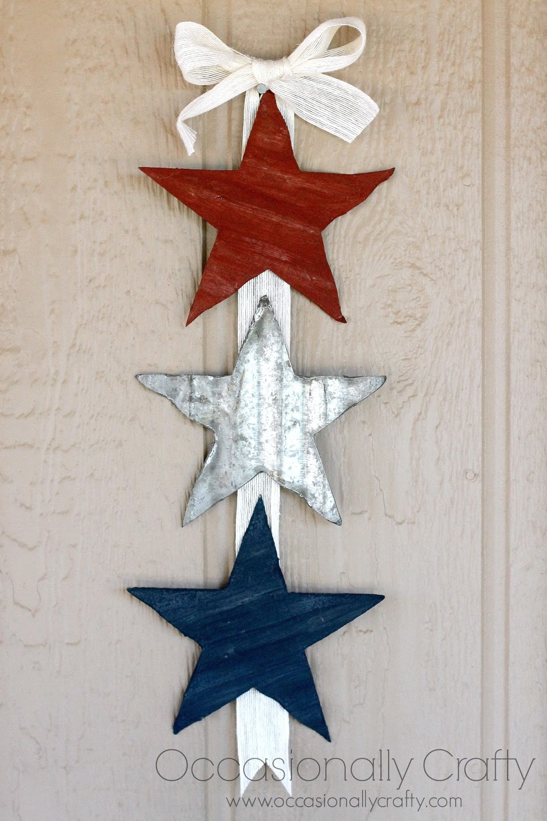 I Painted Two Of My Stars Brick Red And Navy Blue Because Kind Like The Primitive Americana Look Those Colors Brought That Out
