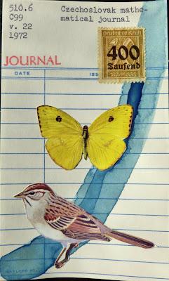 german Deutsches Reich postage stamp library card journal butterfly sparrow bird mail art Dada Fluxus collage