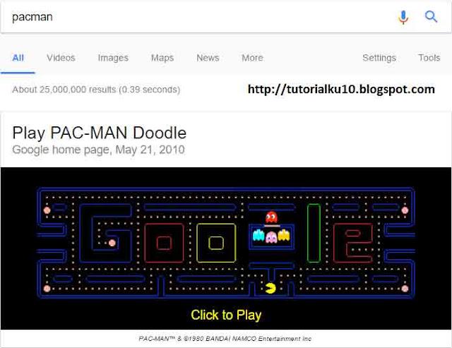 Pacman merupakan salah satu game tersembunyi milik Google