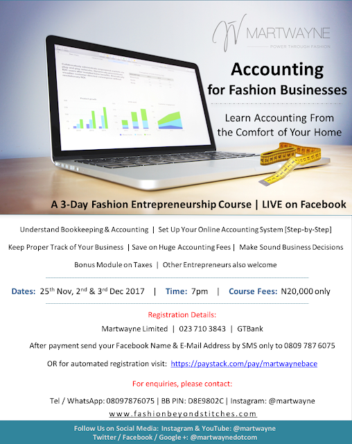 Accounting for Fashion Businesses – our 3-Day Fashion Entrepreneurship Course LIVE on Facebook! Starts 25 Nov. 2017 @ 7pm!