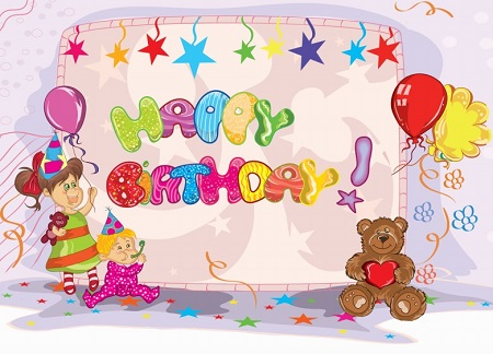 Happy Birthday for Kids with teddy bear