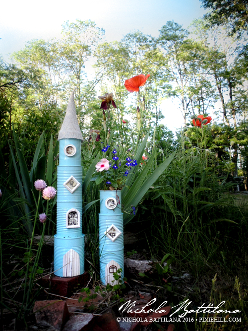 Recycled Tin Castle Towers with tutorial - Nichola Battilana pixiehill.com