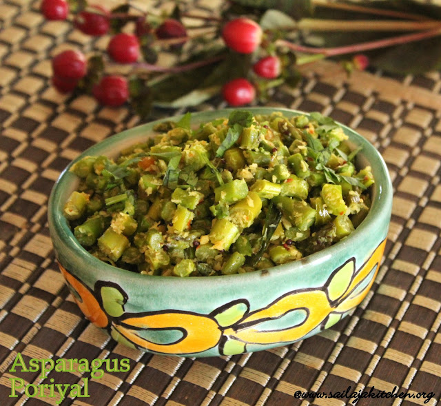 images of Asparagus Poriyal / Asparagus Thoran / asparagus Curry / Asparagus Stir Fry with coconut