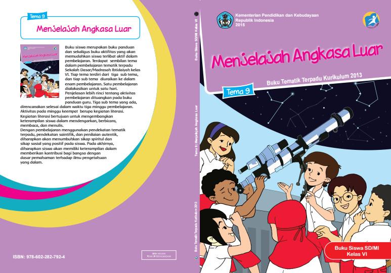Download Buku Tematik Kurikulum 2013 SD/MI Kelas 6 Tema 9 Menjelajah Angkasa Luar Edisi Revisi Format PDF