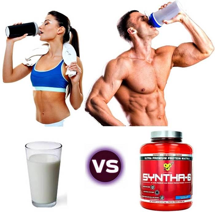 Batido proteínas vs vaso con leche para masa muscular