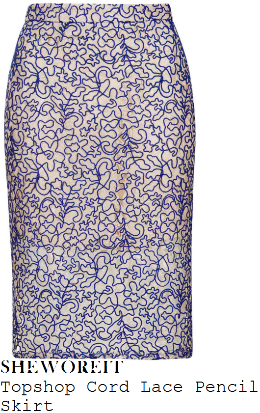 holly-willoughby-topshop-cream-and-purple-swirl-floral-cord-lace-pencil-skirt