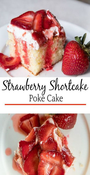 Strawberry Shortcske Poke Cake Recipe