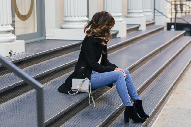 sitting on steps, full outfit