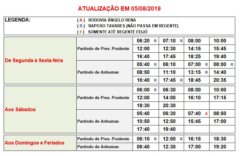 Jandaia Horarios Anhumas