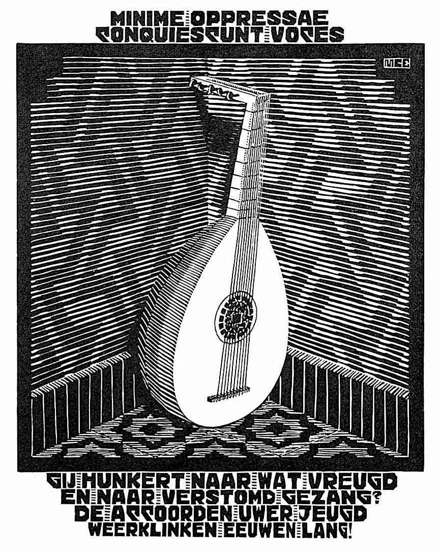 an MC Escher 1931 lute in a corner