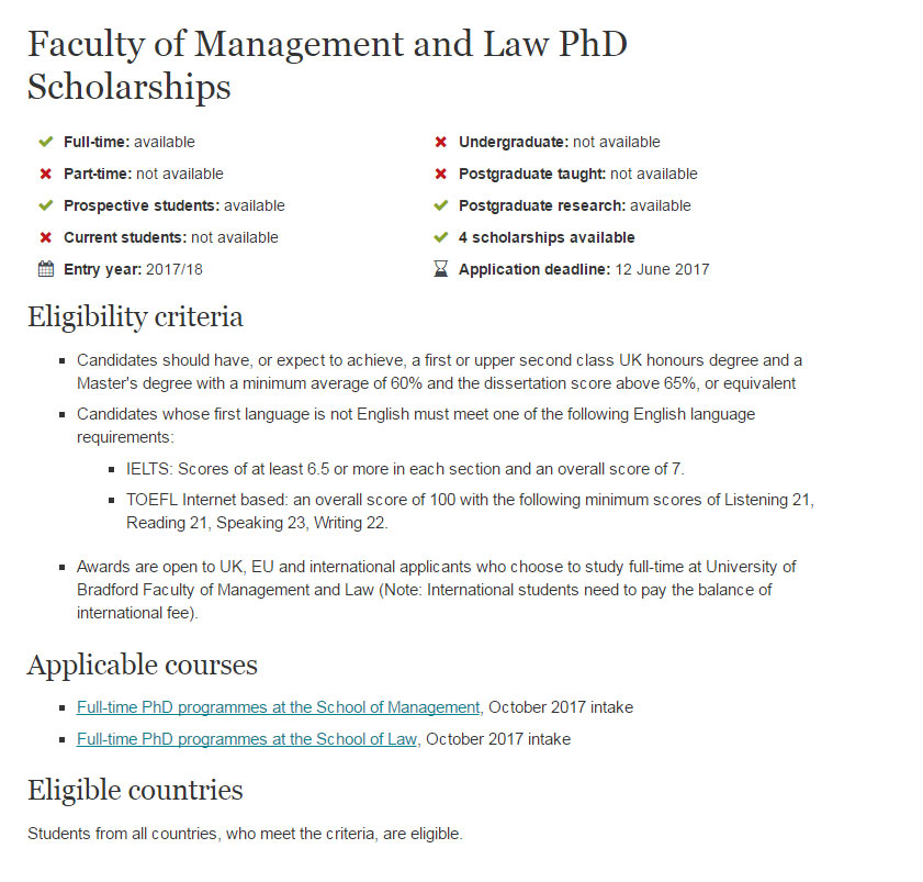 University of Bradford in UK Faculty of Management of Law PhD Scholarships for International Students year of 2017