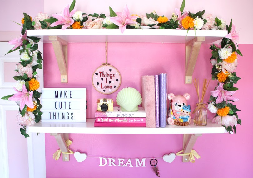 diy flower garland shelf decor