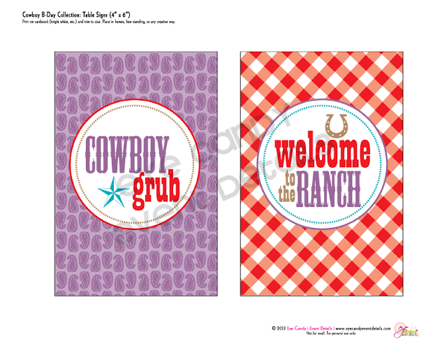 signs for cowboy birthday party, gingham print, bandana print, cowboy grub
