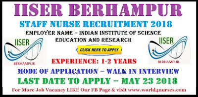 IISER Berhampur Staff Nurse Recruitment 2018
