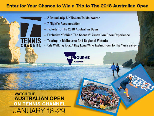 The Tennis Channel has your chance to enter once to win a vacation for two to attend the 2018 Australian Open tennis match in Melbourne worth about $10,000!