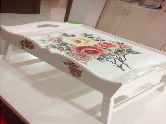 Painted wooden bed table, breakfast table
