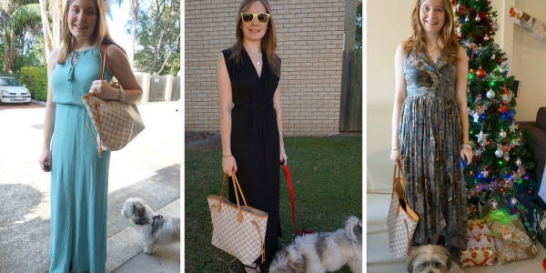 Louis Vuitton Neverfull ways to wear with maxi dresses | away from the blue