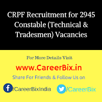 CRPF Recruitment for 2945 Constable (Technical & Tradesmen) Vacancies