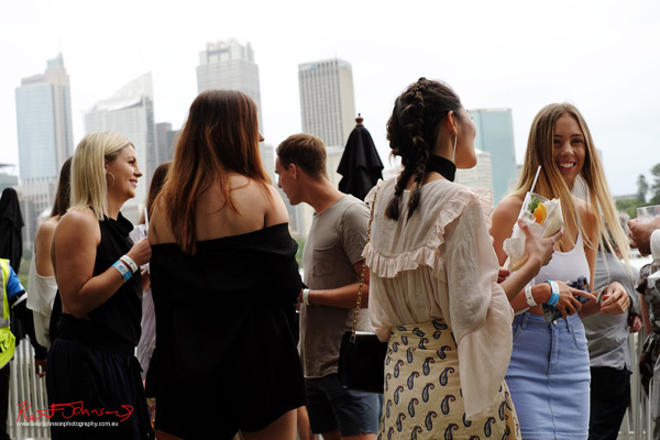 Fashionista mingle with Sydney CBD skyscrapers in the background. Windsor Smith Celebrates 70 years at #HarbourLife Sydney 2016. Photographed by Kent Johnson for Street Fashion Sydney.