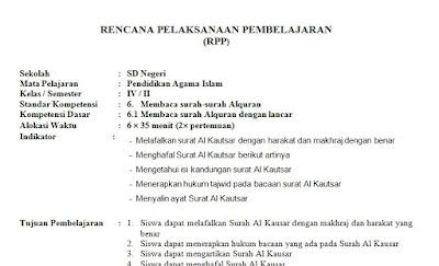 RPP PAI SD Kelas 4 Semester 2 Kurikulum KTSP