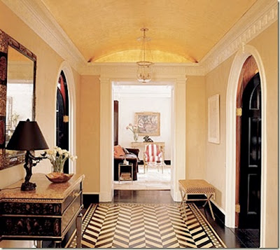 Chevron floor in home decor black and white foyer