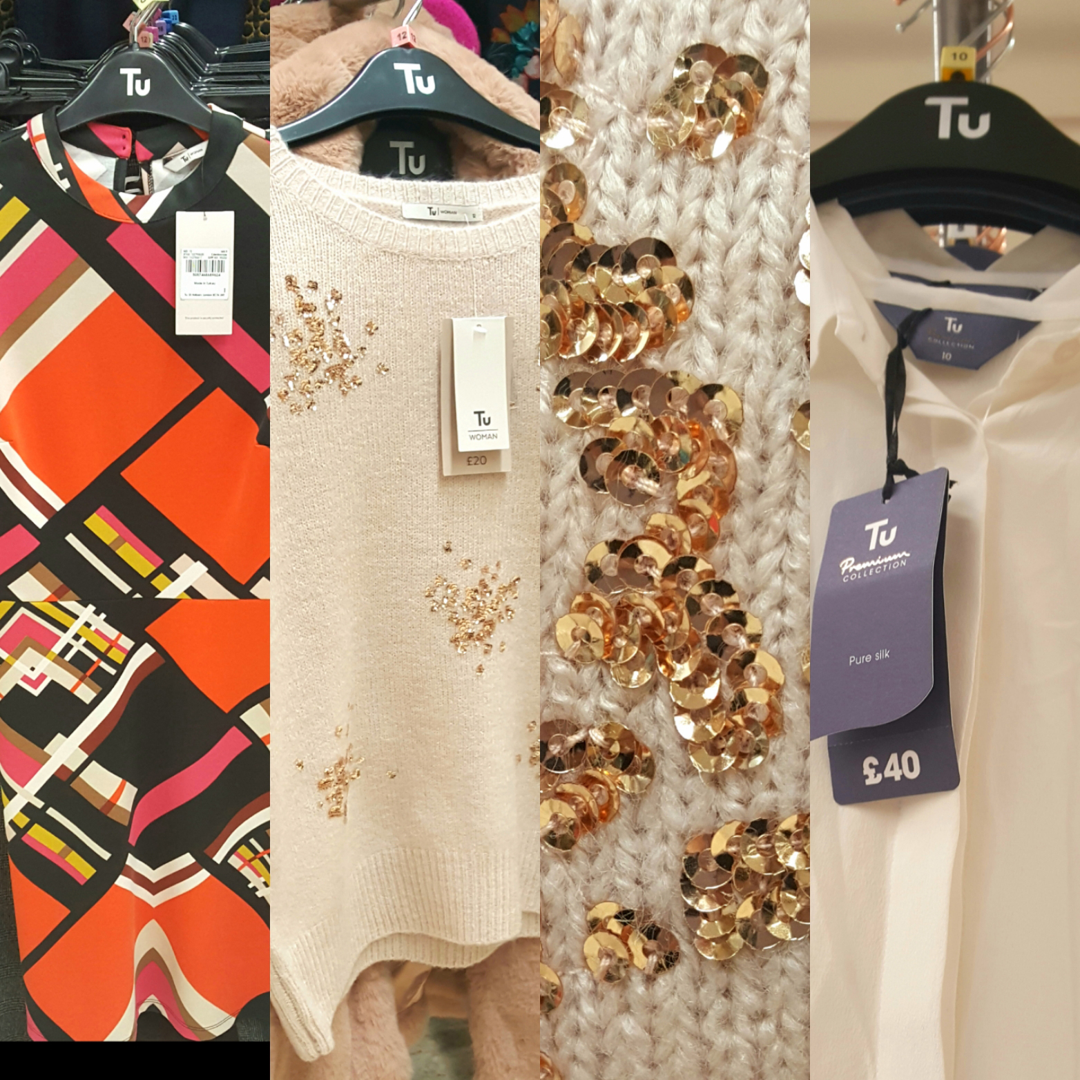 Four collaged images showing items available for women in the fashion aisles of UK supermarket Sainsburys