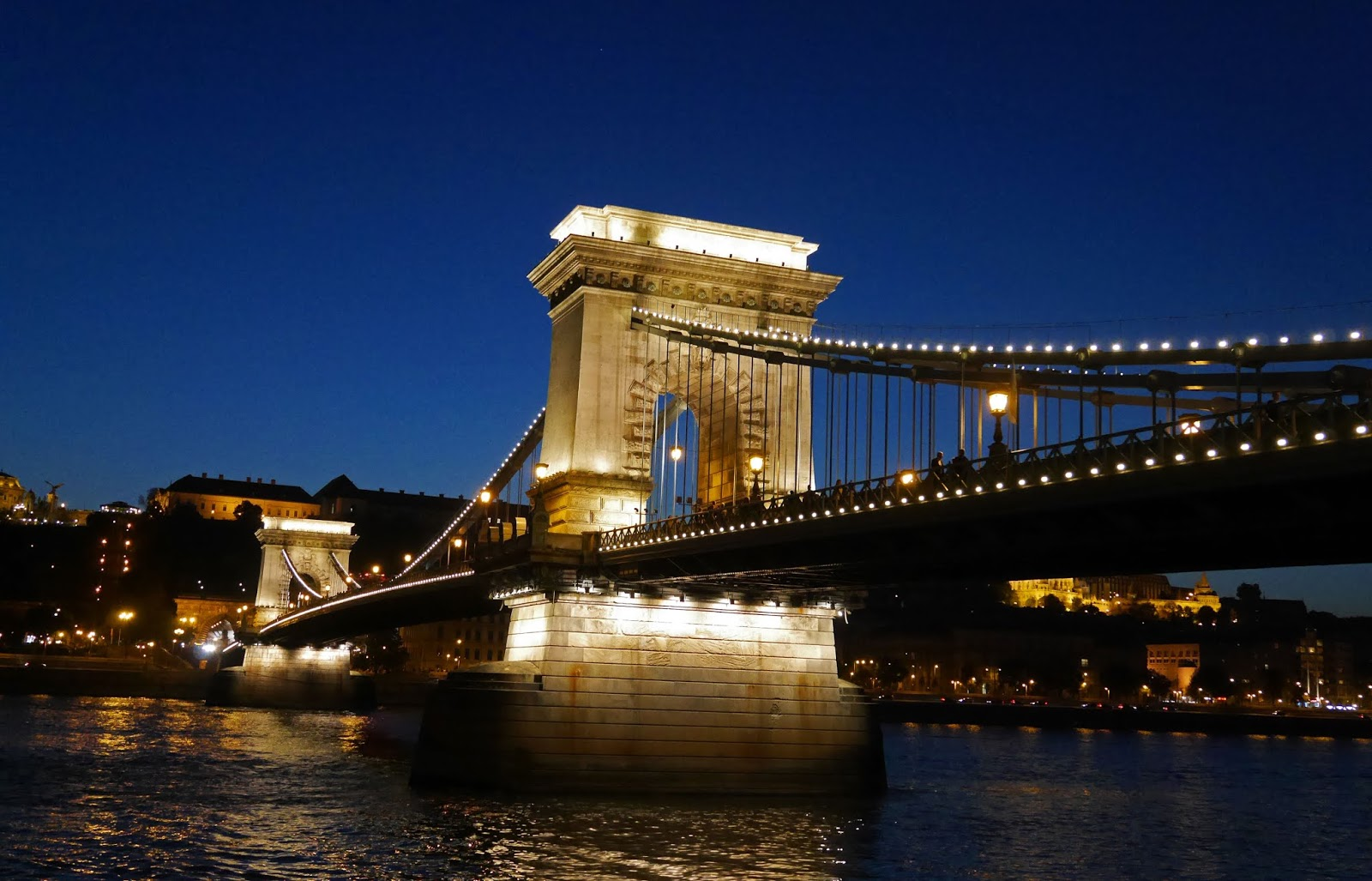 The Chain Bridge and river at night, Budapest