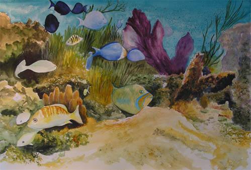 Bunny's Artwork: Underwater Scene Watercolor Painting
