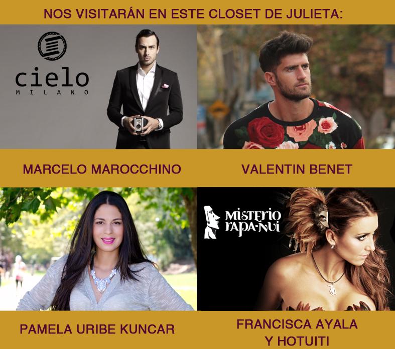 Pamela victoria, Valentin Benet, Marcelo Marocchino en El Closet de Julieta