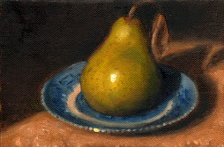 Oil painting of a green pear on a willow pattern saucer.