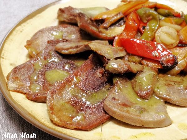 Телешки език със зеленчуци и сос