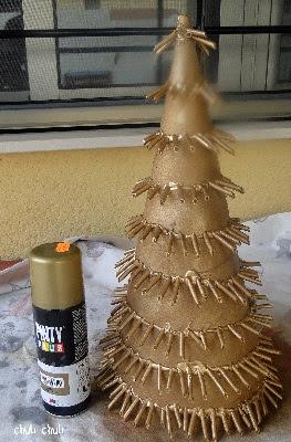usamos la pintura en spray dorada para pintar los macarrones