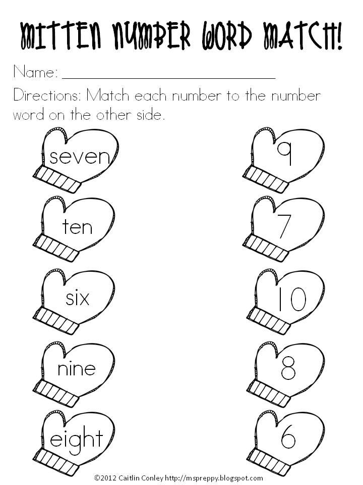 Number Names Worksheet For Kindergarten